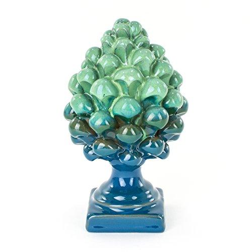 Ceramiche Azzaro & Romano Caltagirone Pigna Bicolore Blu e Verde H cm 14 in Ceramica Fatta a Mano, i Colori del Mare