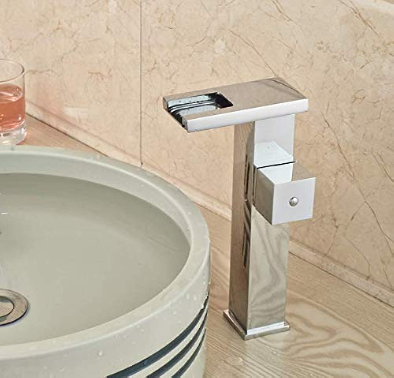 LED Light Waterfall Bathroom Basin Sink Faucet Single Handle Brass Hot Cold Washbasin Mixer Taps