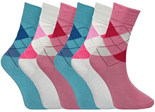 12 pares de calcetines de algodón para mujer con parte superior suelta para diabéticos, no elásticos, diseño de rombos con patrón de diamantes, talla 4-7