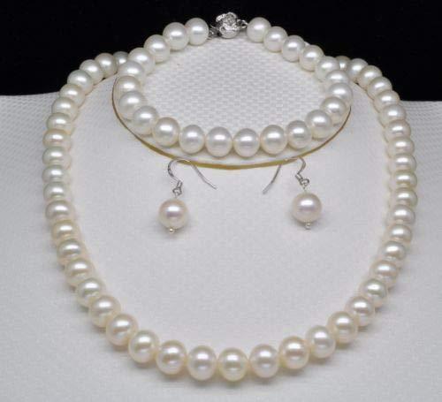 Mujeres Nobles Regalo Clasp Doble Cadena Natural AAAA Natural Blanco 9-10mm Redondo Collar de Perlas Pulsera&a