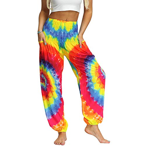Lu's Chic Women's Tie Dye Harem Pants Thai Smocked Waist Dancing Loose Comfy Long Hippie Pants Style1 One Size