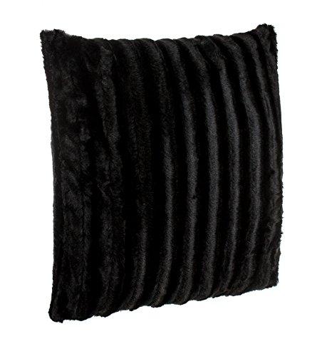 Brandsseller Coussin en Fourrure synthétique - Coussin Aspect Vison - Ultra Souple et Doux avec garnissage - Dimensions: 50 x 50 cm - Noir