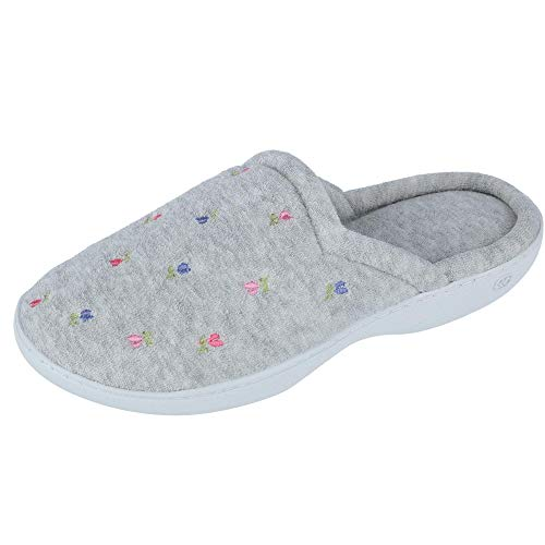 isotoner Women's Classic Terry Clog Slippers Slip on, Heather Grey, 9/10