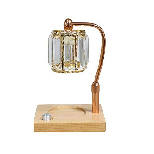 QLIGHA Lámpara de fusión de Cera de aromaterapia, Dormitorio, Ayuda para Dormir, difusor de Aroma, lámpara de cabecera, lámpara de Mesa Decorativa de Cristal con Base de Madera
