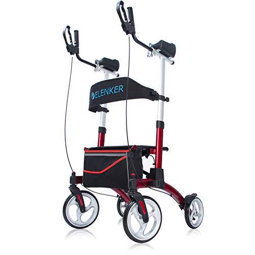 "ELENKER Upright Walker Stand Up Folding Rollator Walker with Adjustable Backrest, 10"" Front Wheels and Compact Design for Seniors, Red"