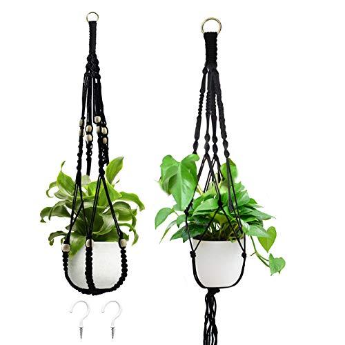 Makramee Blumenampel 3er Set, Baumwollseil Hängend Blumentopf, Blumenampeln zum Aufhängen mit für Innen Außen Balkone (Seil-Blumentopf mit 2 Haken)