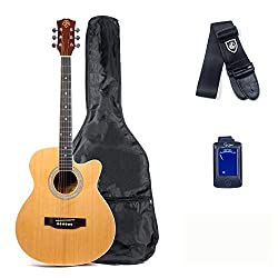 in budget affordable The Care2Rock Acoustic Guitar Starter Kit includes one-on-one lessons, tuners, picks and straps.