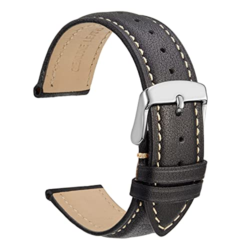 WOCCI Vintage Leather Watch Bands with Stainless Silver Buckle, Replacement...