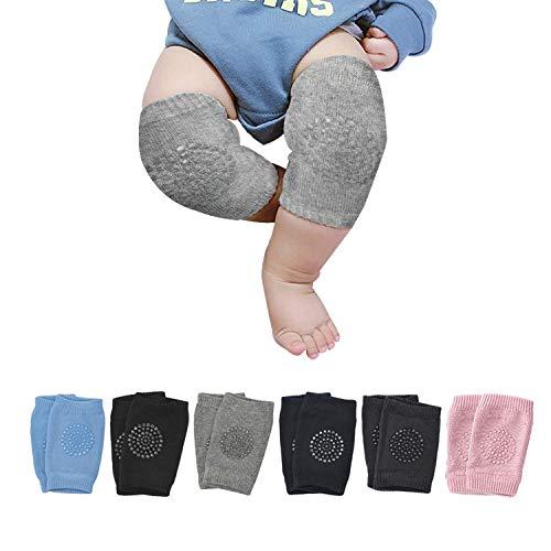 JADE KIT 6 Paar Knieschoner Baby Krabbeln, Verstellbare und Atmungsaktive Anti-Rutsch Kleinkind Knieschoner für 6-24 Monate