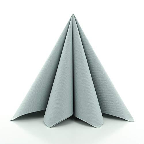 Sovie HORECA Airlaid-Servietten 40x40 cm | hochwertige Einweg-Servietten | extrem saugstark und stoffähnlich | ideal für Hochzeit & Partys | 50 Stück | Grau