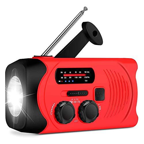 CWWHY Torche De Lampe De Poche Radiowith À Énergie Solaire d'urgence, Radio À Manivelle AM/FM, Chargeur De Téléphone USB 2000Mah Power Bank pour Le Camping, La Randonnée