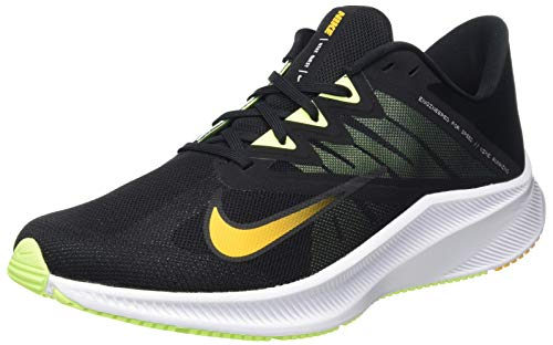 Nike Quest 3, Running Shoe Mens, Black/University Gold-White-Volt Glow, 44.5 EU