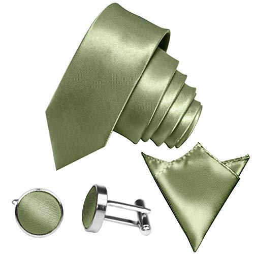 GASSANI 3-SET Krawattenset, 6Cm Schmale Hell-Gruene Herren-Krawatte Dünn Manschettenknöpfe Ein-Stecktuch, Bräutigam Hochzeitskrawatte Glänzend