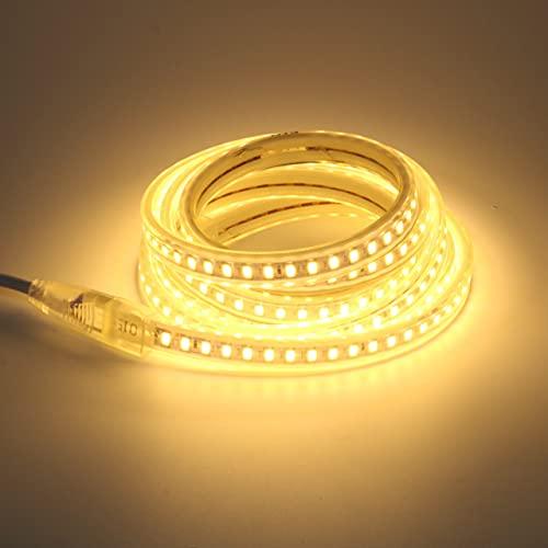 SMD 5730 AC 220V Tira de luz LED Impermeable al aire libre IP67 220 V 120led / m Cinta con enchufe de la UE Blanco cálido 2M