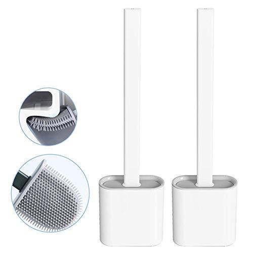 Nutteri Revolutionary Silicone Flex Toilet Brush with Holder,No-Slip Long Handle Toilet Brush with Holder, Standing Holder & Wall Mounting Cleaning Brush Set (White(2pc))