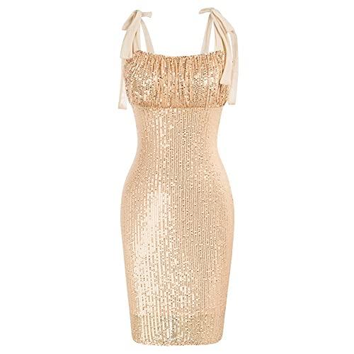 GRACE KARIN Damen Glitzer Abendkleid rückenfrei Bodycon Bleistiftkleid Spaghetti Strap Slim Fit Midi Kleid S Golden-Pailletten CL0741S21-03