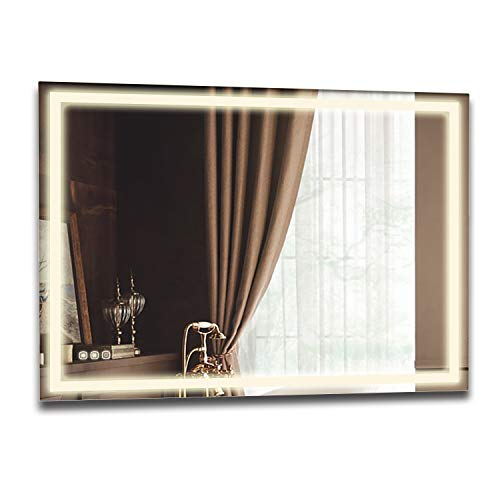 "B&C 48""x36"" Lighted Bathroom Mirror Wall Mounted