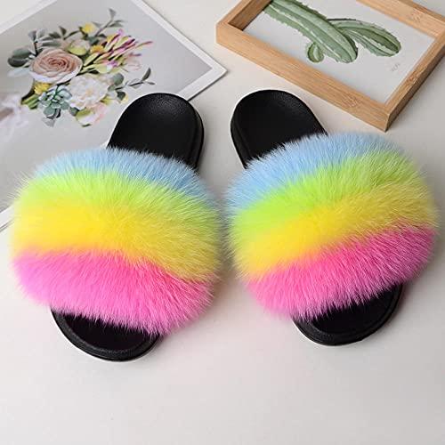 COQUI Peludo Sandalias,Primavera y Verano Nuevas Zapatillas Europeas y Americanas Zapatillas de Piel Zapatillas de Piel 貉子-Colorido c_42-43