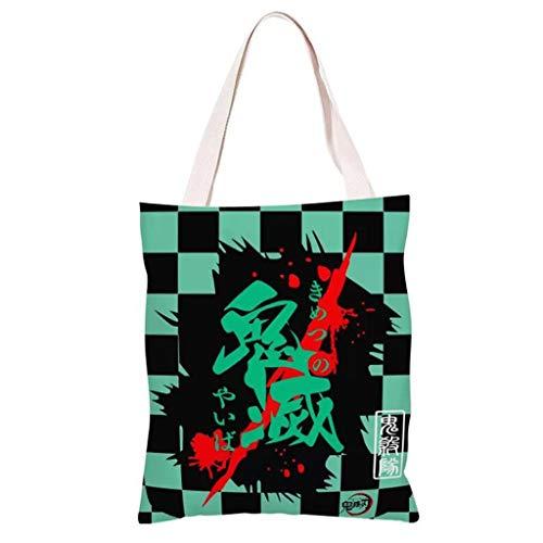 Japanisches Anime Handtaschen Leinentasche, Demon Slayer Einkaufstasche, Perfekt zum Einkaufen Laptop Schulbücher, 35x39cm, Geeignet für Jungen, Mädchen, Studenten, Damen (3)