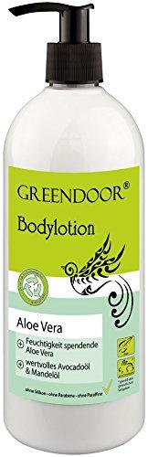 500ml Greendoor Bodylotion Aloe Vera natürliche Körperlotion ohne Silikone, ohne Parabene, vegane Körpermilch bei trockener Haut, Naturkosmetik Hautpflege Natur Feuchtigkeitspflege Körper Gesicht
