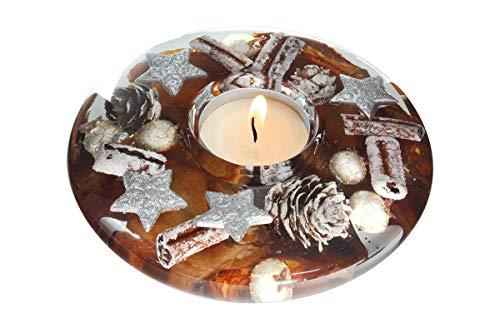 Dreamlight Moderner Teelichthalter Windlichthalter aus Glas Herbstlich Weihnachtsdekoration Durchmesser 13 cm *Exklusive Handarbeit*