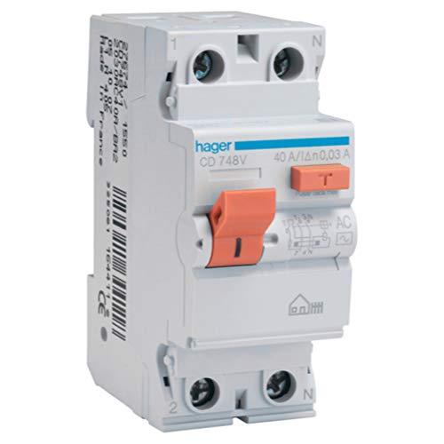Hager CD748V Interruptor Diferencial Tipo AC, 2P, 40A, 30mA, Blanco