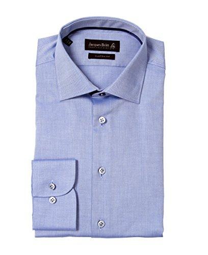 Jacques Britt Herren Hemd Business Hemd John Satinribbon 1/1 lang 283020-017 Uni blau Gr. 39 40 (40)