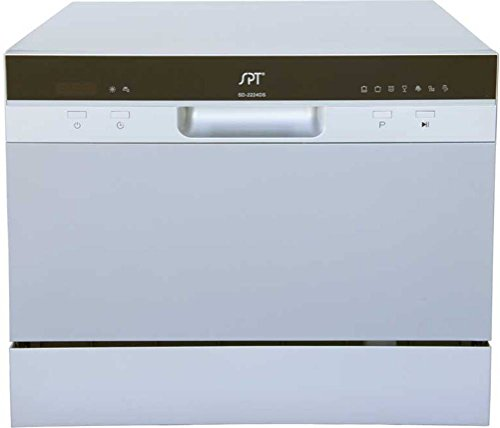 SPT SD-2224DS ENERGY STAR Compact Countertop Dishwasher with Delay Start - Portable Dishwasher with Stainless Steel Interior and 6 Place Settings Rack Silverware Basket for Apartment Office And Home Kitchen, Silver