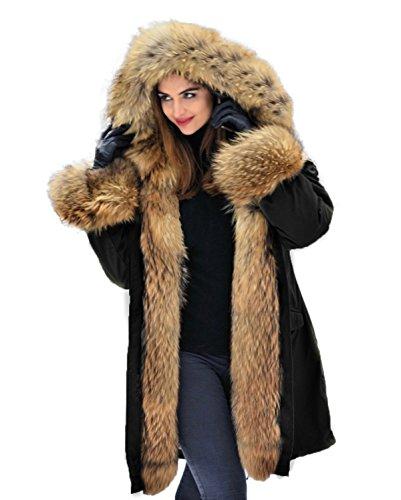 Lea Marie Parka XXL Kragen aus 100% ECHTPELZ ECHTFELL Jacke Mantel Kaninchen Fütterung (L / 38)