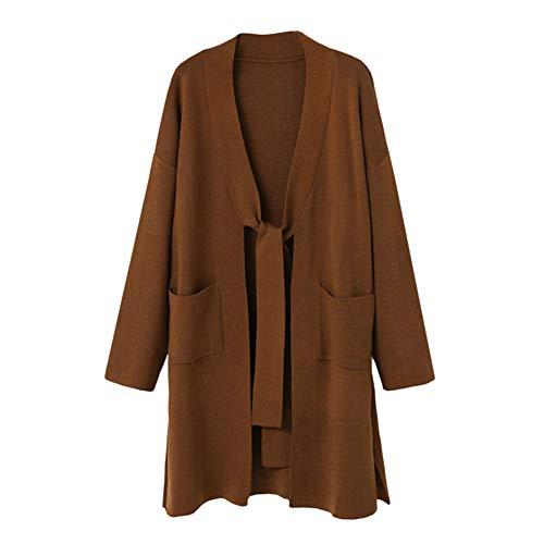 Damen Pullover Sweatshirt Cardigan Ronamick Loose Gestickte Langarm Casual Warm Stricken Strickpulli Strickjacke Strickpullover(S, Braun)
