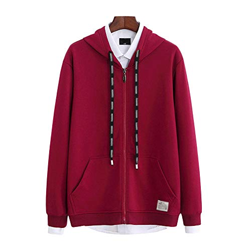 Sudadera fina para hombre con capucha para primavera y otoño, con cremallera completa, talla grande, ligera, chaqueta de punto gordo de algodón, ropa deportiva suelta NY-662 Rojo rosso M