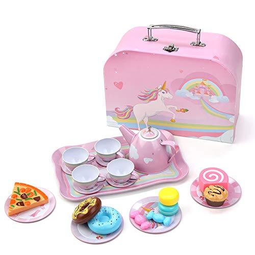 Erlsig Set da tè, gioco da cucina, giochi di ruolo per bambini, set da tè per bambini, accessori per il soggiorno e la cucina per bambini e bambini