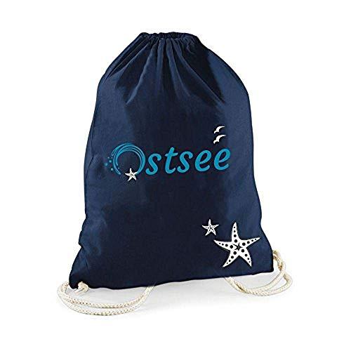 Statement-Turnbeutel Ostsee mit Seestern Gym-Bag Rucksack Hipster Beutel mit Spruch Tasche Gymsack Sportbeutel Geschenk (dunkelblau)