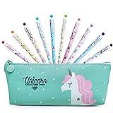 BIQIQI Unicornio Estuche Papelería Set Lápices Bolígrafos de Unicornio Escolar Kawaii Boligrafos Gel 10 Colores para el Colegio y La Oficina Regalo de Cumpleaños Niña 4 5 6 7 8 9 10 Años