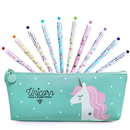 BIQIQI Penne Unicorno Set con Astuccio Bambina Scuola Regali Compleanno 10 Penne Colorate per Bambini Età 3 4 5 6 7 8 9 10 Anni Simpatiche Penne per Ragazze Regalo Cancelleria Ufficio Forniture