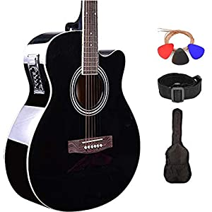 Kadence Guitar Frontier Series, Electric Acoustic Black Guitar With EQ 6