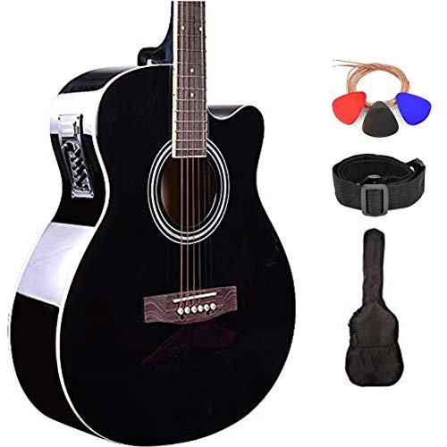 Kadence Frontier Series Acoustic Guitar 40inch with/without EQ and Bag (Combo, Black Electric Acoustic)