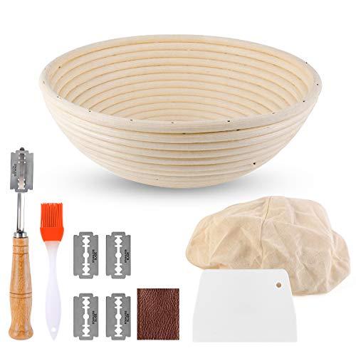 Furuix Cestino per Il Pane Rotondo da 10 Pollici, Grande Cestino per la fermentazione del banneton, 4 Utensili da Forno-Rivestimento in Tessuto/Lama per Pane/Raschietto/Pennello per Olio
