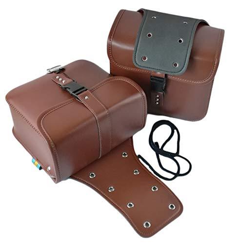 2er Set Motorrad Seitentasche PU Leder | Farbe - [braun] | 26cm x 11,5cm x 24 cm Chopper Satteltasche | Gepäcktasche - 2 Stück | Seitenkoffer | Toolkit | Satteltaschenpaar Motorradgepäck | Stauraum
