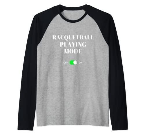 Modo de juego de racquetball en divertido juego de raqueta Squash Sports Camiseta Manga Raglan
