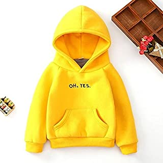 QGT Children Wear Boys and Girls Thicker Letter Embroidery Hooded Long-Sleeved Sweater, Height:120cm(Yellow) (Color : Yellow)