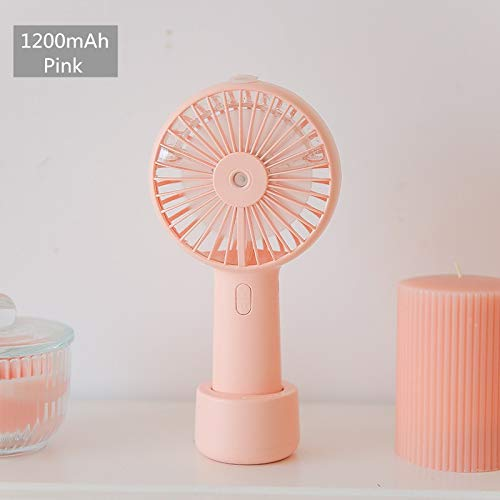 sjzwt Batería Portátil Spray Mist Mist Fan Electric USB Recargable Mini Mini Ventilador Acondicionador de Aire Acondicionador Humidificador para Exteriores (Color : 1200mah Pink)