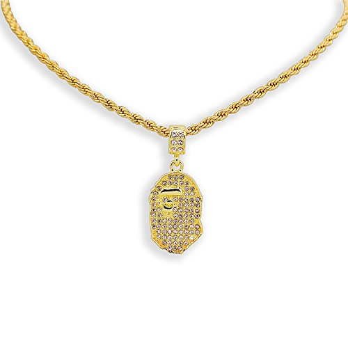 Yellow Gold-Tone Iced Style Bling Hip Hop Bape Ape Pendant with 24' Solid Rope Necklace Chain