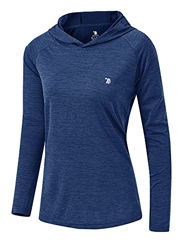 YSENTO Damen Sport T-Shirt Langarm Funktionsshirt Atmungsaktive Fitness Workout Oberteil Gym Activewear Top(Marine,2XL)