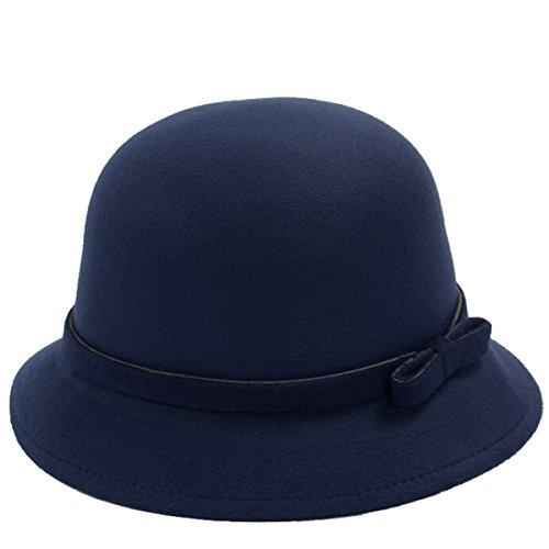 ZUMUii Butterme Frauen Dame Vintage Wool Round Fedora Bogen Cloche Derby Hüte Eimer Hüte (Navy blau-Bowen Knot)