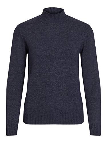 Vila Clothes Damen VIRIL L/S Turtleneck Knit TOP-NOOS Rollkragenpullover, Blau (Total Eclipse Detail:Melange), 38 (M)