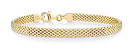 Miabella 18K Gold Over Sterling Silver Italian 5mm Mesh Link Chain Bracelet for Women 6.5, 7, 7.5, 8 Inch 925 Made in Italy (7.5 Inches)
