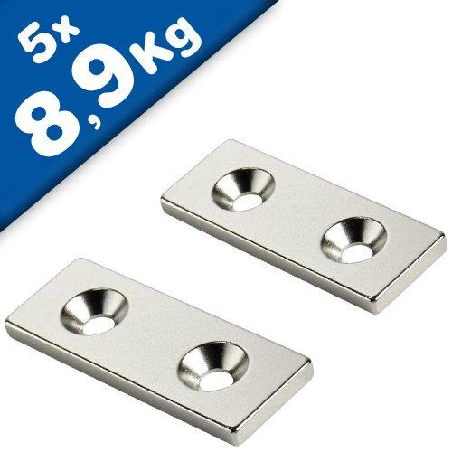 5 x Quadermagnet mit Senkbohrung 50 x 10 x 3mm - Süd - Neodym N35, Nickel - Haftkraft 8,9 kg - 5 Stück - starke Magnete (Supermagnete) mit extremer Haftkraft für Industrie und Zuhause