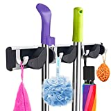 YOLETO Broom Holder Wall Mounted Heavy Duty Mop Hanger Rack Organizer Tool with 3 Racks 4 Utility Hooks for Garage Laundry Room Bathroom Kitchen Home Organization and Storage