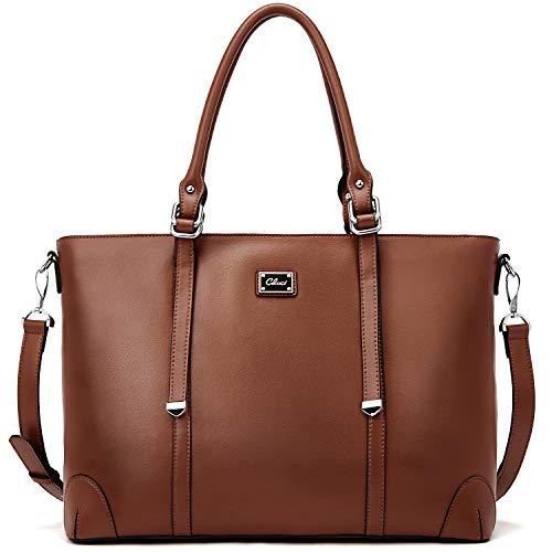 Laptop Totes for Women Genuine Leather Briefcase 15.6 Inch Large Ladies Work Handbags Shoulder Bag Brown